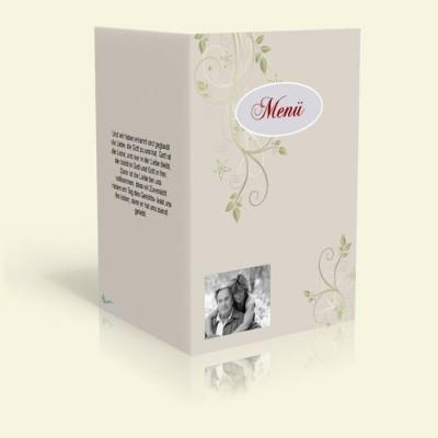 Menükarte - Blumenranke - Muschel