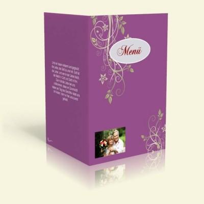Menükarte - Blumenranke - Flieder