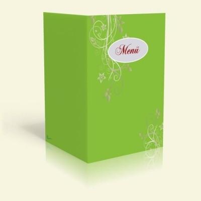 Menükarte - Blumenranke - Oliv