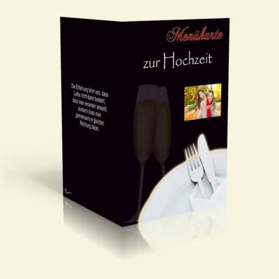 Menükarte - Sektgläser - Schwarz