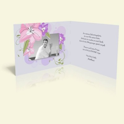 Danksagungskarte Geburtstag Zarte Pastellblüten