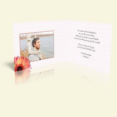 Danksagungskarte zum Geburtstag - Aquarellblume