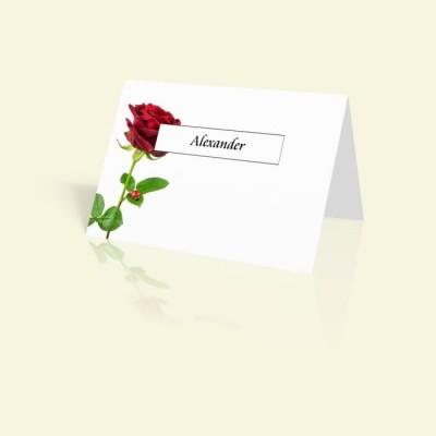 Tischkarte große Rote Rose