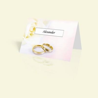 Tischkarte Hochzeitsringe mit Rose