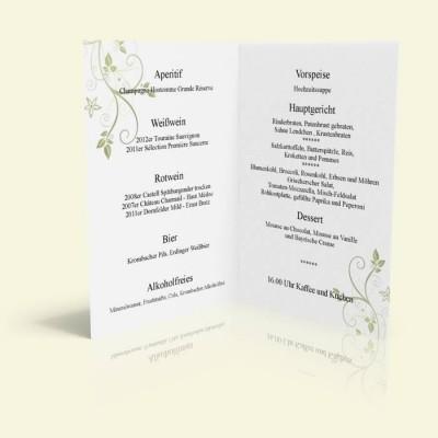 Menükarte - Blumenranke - Taubenblau