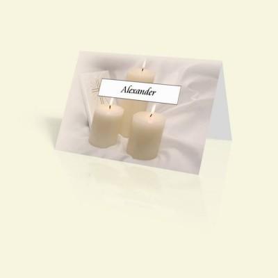 Tischkarte Kerzen mit Bibel