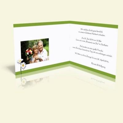 Einladung Margeriten mit grün