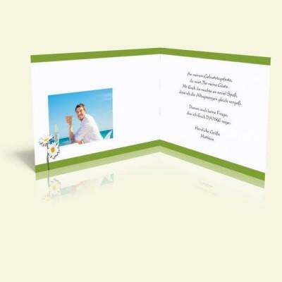 Danksagungskarte Geburtstag Margeriten mit grün