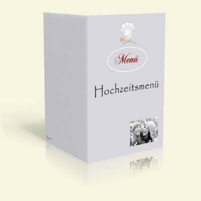 Menükarte - Kochmütze - Taubenblau