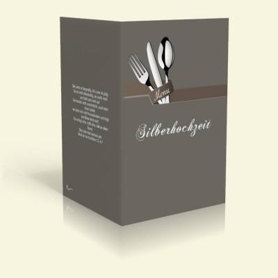 Menükarte - Besteck - Dunkelgrau