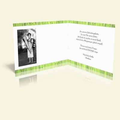 Danksagungskarte zum Geburtstag - Grünes Muster