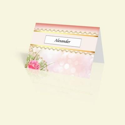 Tischkarte Pink Rose