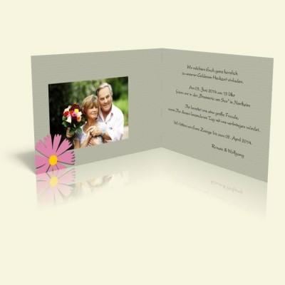 Einladung Rosa Blume und Punkte