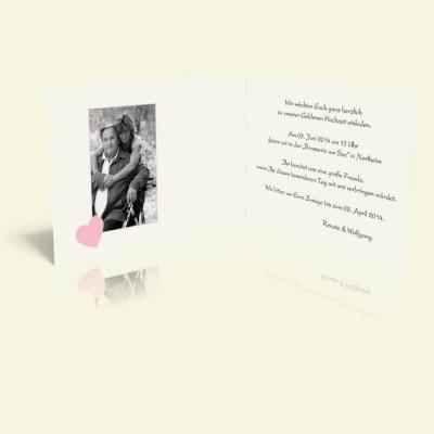 Einladung Ornament mit Rosa Herzen