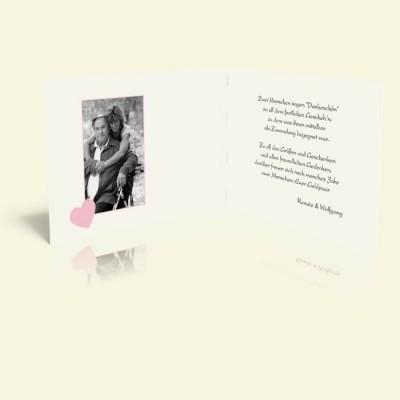 Danksagungskarte Ornament mit Rosa Herzen