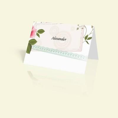 Tischkarte Rosenrahmen Rosarot