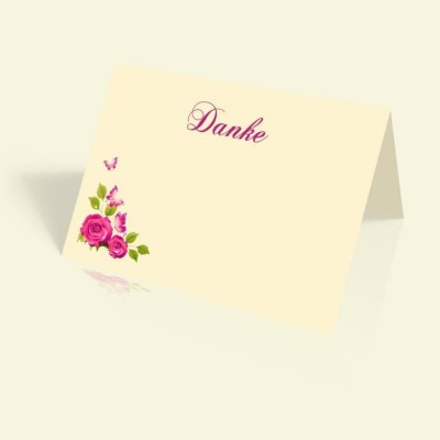 Dankeskarte Geburtstag - Rosenranke - vertikal klappbar