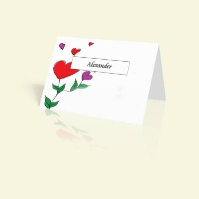 Tischkarte Rote Herzen