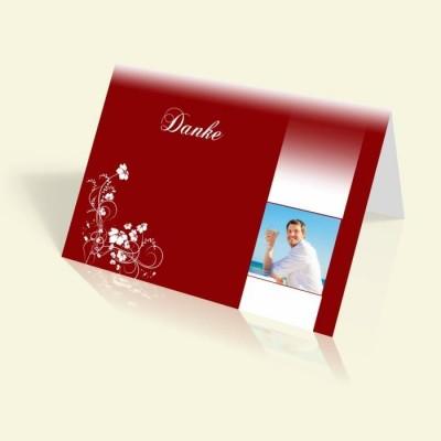 Danksagung Geburtstag - Weiße Blumenranke - vertikal klappbar