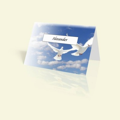 Tischkarte Weiße Tauben im Himmel
