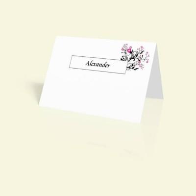 Tischkarte Zartes Rosenornament