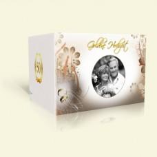 Danksagungskarte Goldene Hochzeit Blüten in Braun