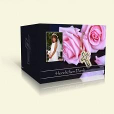 Danksagungskarte Kommunion Rosa Rosen mit Kreuz